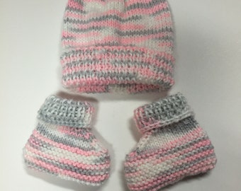 Knit Baby Hat and Booties Set, 0-3 Months