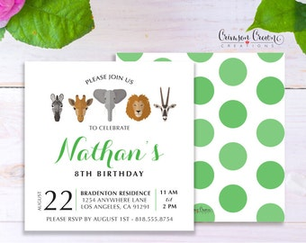 Wild Animals Child's Birthday Invitation - Baby, Toddler, Kid's Zoo Animals Birthday Party Invite - Jungle Safari Party - Digital File