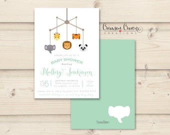Zoo Baby Shower Invitation - Mobile Shower Party Invite - Wild Animals Shower - Simple Baby Shower - Digital File