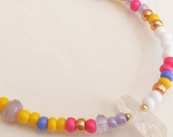 Pink, Blue, Yellow and Crystal Bead Friendship Bracelet
