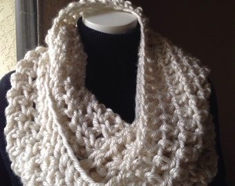 Chunky Cream Infinity Scarf Cowl Eternity Scarves Circle Loop Fashion Crochet Handmade available in many colors