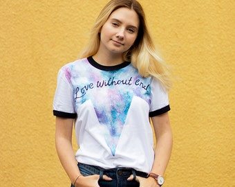 Hand Painted Love Without End Ringer Tee