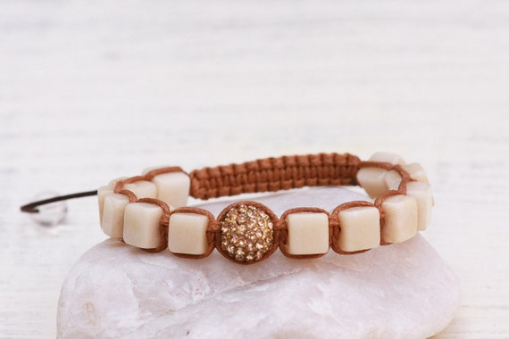Shamballa bracelet, Natural stones crystal pave bracelet, Tibetian macrame bracelet, Jade bracelet, White cream jade bracelet, Gemstones