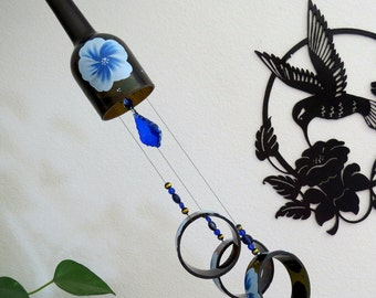 Wine bottle wind chime, Dark Amber wind chime, Blue flowers, yard art, patio decor, recycled bottle wind chime, hand painted chime