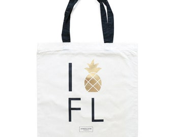 Florida Bachelorette Totes, Miami Gold Pineapple Tote