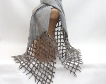 Grey nuno felted scarf with lattice additions