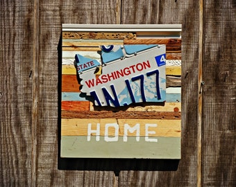"""Washington License Plate """"Home"""" Sign On Reclaimed Wood - The Reclaimed Home Collection"""