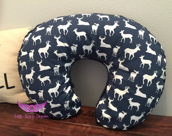 Premier Prints Navy Deer Silhouette and Navy Minky Boppy Cover