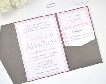 SALE! Pink and Grey Pocketfold Wedding Invitation, Blush, Silver, Formal, Classy, Modern, Simple, Modern Monogram Design, Sample