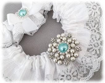 White Bridal Garter Set, White Lace Wedding Garter Set, Something Blue Garter Set, White Lace Garter Set, White Garter Set, Aqua Blue