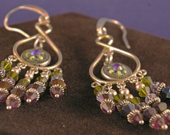 Purple India Style Chandelier Earrings. Sterling Silver ear wires.