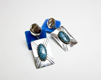 60s Mae Bia Navajo Turquoise & Sterling Drops, Native American Mid Century, Post Dangles, Southwestern USA