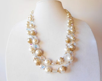 Pearl Necklace, Pearl and Crystal, Vintage Necklace, Costume Jewelry, 2 Strand Pearl Necklace, Glamorous Necklace