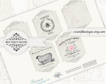 Vintage Provence Labels, Scrapbooking/Decoupage paper. Set of 4. Digital download for scrapbooking and packaging.