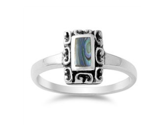 Abalone Shell Sterling Silver Ring, Abalone Shell Ring, Shell Ring,
