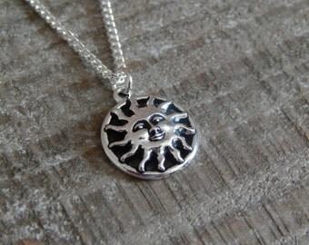 Sun Necklace, Sun Pendant, Silver Sun Necklace, Sunshine Pendant. Silver Sun Charm Necklace