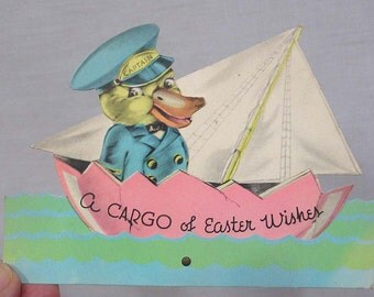 Vintage 1930s Easter Card Mechanical with Captain Duck on a Sailboat that can be Rocked Back and Forth