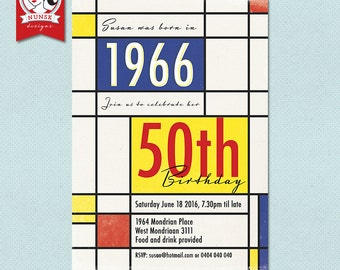 50th Birthday Party Invitations // Retro 60s // Mondrian // Milestone // printable
