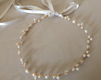 Bridal Freshwater pearl halo circlet with ribbons