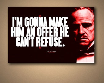 "THE GODFATHER ""Offer He Can't Refuse"" Quote Poster"