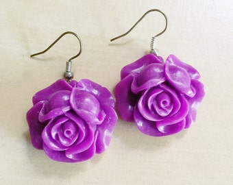 20% OFF: Orchid Rose Earrings - Silver Plated French Hooks, Dark Purple, Magenta, Plum, Lotus Flowers, Resin Cabochons, Bridesmaid Jewelry