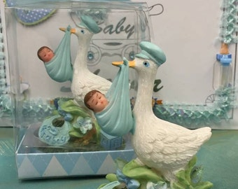 Baby Shower Stork with Boy Favor Cake Top in Gift Box
