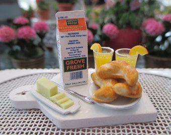 Dollhouse Miniatures - White Shabby Cutting Board with Orange Juice & Croissants with Butter - Breakfast
