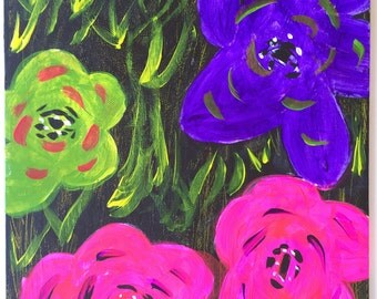 Neon Flowers - Original Canvas Painting