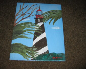 "LIGHTHOUSE PAINTING On Canvas Mounted On Stretcher Frame 16"" x 20"" Bold Black And White Lighthouse With Red Top Tree Branches"