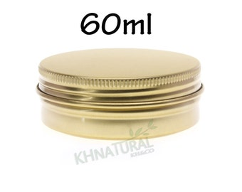 Empty Tin Cosmetic Pots Jar Box Containers Aluminium Gold 60ml