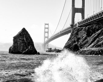San Francisco Photography - Golden Gate Bridge, San Francisco, California, Black and White Photo, San Fran Print, Fine Art, 8x12 photo