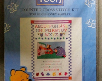 Vintage Winnie the Pooh Disney Counted Cross Stitch Kit Leisure Arts Too Much Honey Sampler 34004 NOS New Old Stock