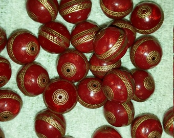 Vintage Cranberry Red and Gold Etched Round Acrylic Beads - 14mm – 6 pcs..