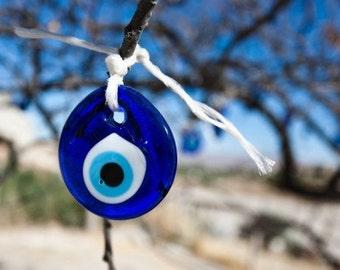 2  3/4 Inch Handmade Round Blue Glass Turkish Evil Eye Nazar Amulet Good Luck Charm