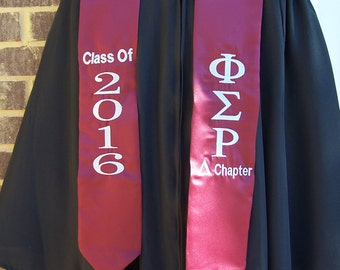 PHI SIGMA RHO Maroon or Grey  Satin Graduation Stole w/Greek Letter Embroidery &/or Class Year
