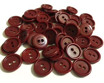 Lot of 50 Wine Red, Maroon, Burgundy, Cordovan Colored 2-Hole Sewing, Crafting Buttons, button lot 184