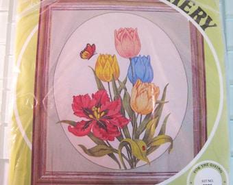 "Tulip Flower Crewel Embroidery Kit BIG 26"" x 30"" - Paragon Creative Stitchery"