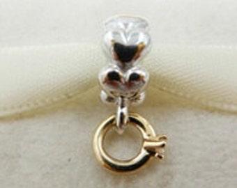 "Pandora Silver & 14K Gold ""I Do"" Diamond Dangle Charm"