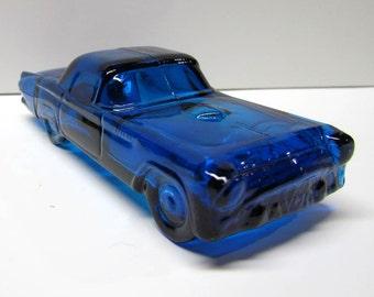 Blue Glass Thunderbird Car, AVON Bottle / Decanter Figurine, It Is Empty - Vintage Collectible AVON - Home Decor