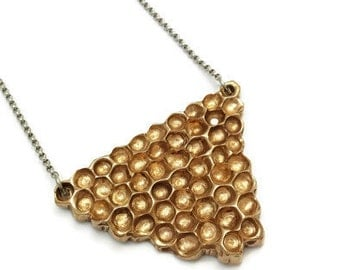 Beehive necklace, Honeycomb necklace, Bronze Honeycomb, Bronze jewelry, Honey, Bees, Nature