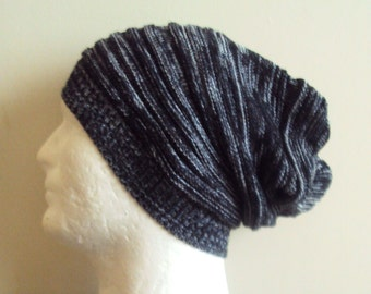 Mens Slouchy Beanie Heather Black Knit Hat  Celebrity Hat Slouchy Hat Dreadlock Hat