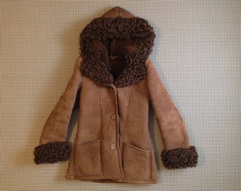 1980's, sheepskin parka, with long, curly, fur trim, in cocoa, by Antartex, Women's size Medium