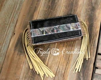 Cowhide Trifold Wallet with Fringe