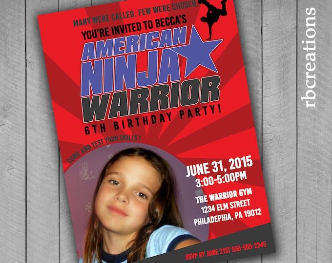 Photo Ninja Warrior Invitations, Ninja Warrior Party, ANW Birthday Party, Ninja Warrior Invitation - Digital Printables
