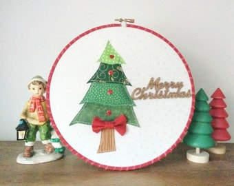 "SALE 8""Merry Christmas Hoop Art"