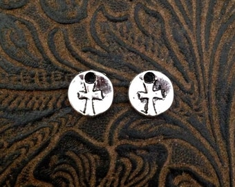 10-14-AS Tiny Rustic Coin Cross Charm, Small Cross Charms, Small round Cross, Double Sided Round Cross Charm 9mm 12 pieces Antique Silver