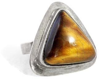 Ring Tigers Eye Silver Vintage
