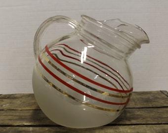 Vintage Anchor Hocking Glass Tilted Ball Pitcher