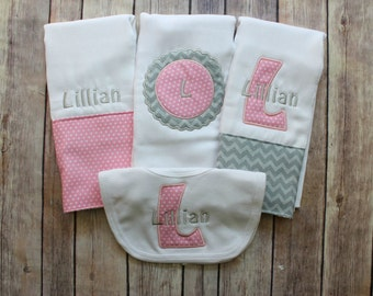 Personalized Monogrammed Girl's Burp Cloth and Bib Set - Pink and Grey Custom Burp Cloth Set for new baby girl