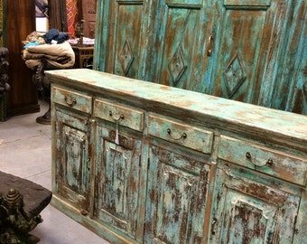 Vintage Buffet Console Spanish Moroccan Mediterranean Distressed Patina Sideboards Drawer Chest Storage Cabinet